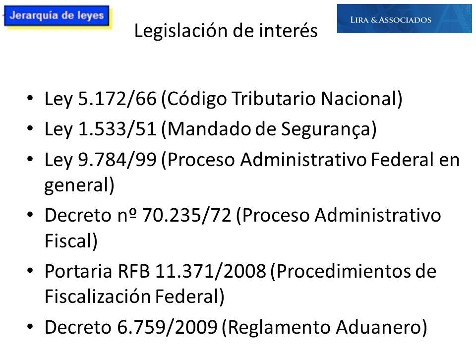Legislación de interés Ley 5.172/66 (Código Tributario Nacional) Ley 1.533/51 (Mandado de Segurança) Ley 9.784/99 (Proceso Administrativo Federal en g