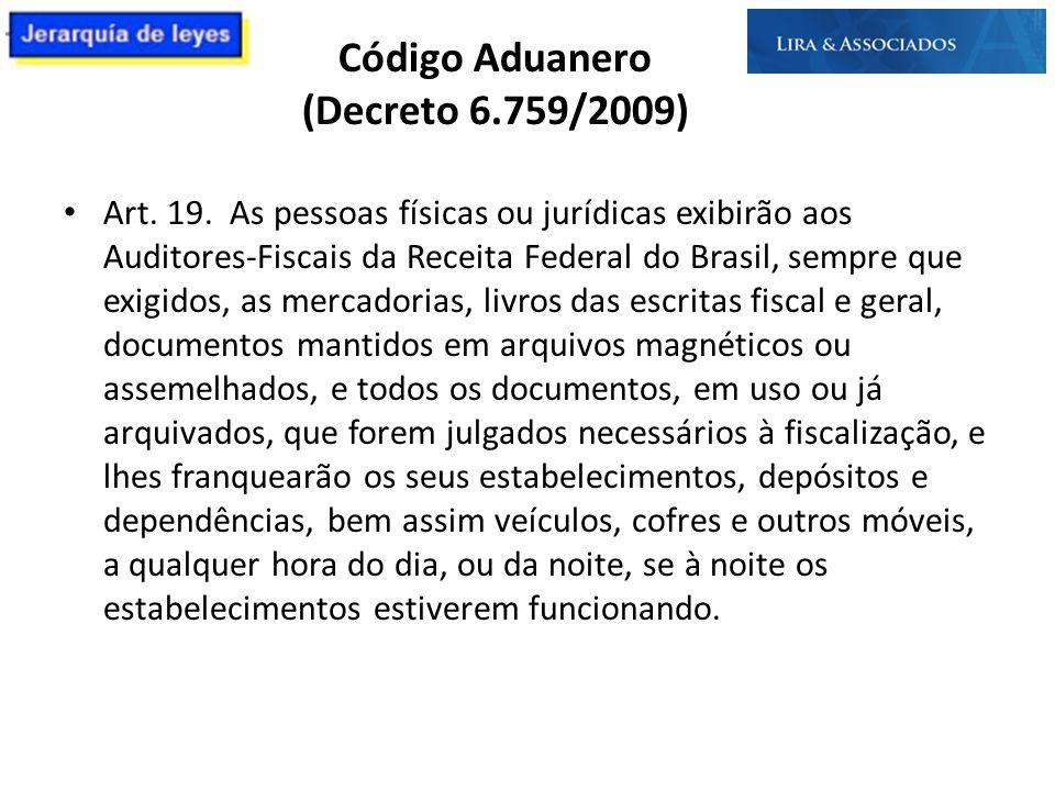 Código Aduanero (Decreto 6.759/2009) Art. 19. As pessoas físicas ou jurídicas exibirão aos Auditores-Fiscais da Receita Federal do Brasil, sempre que