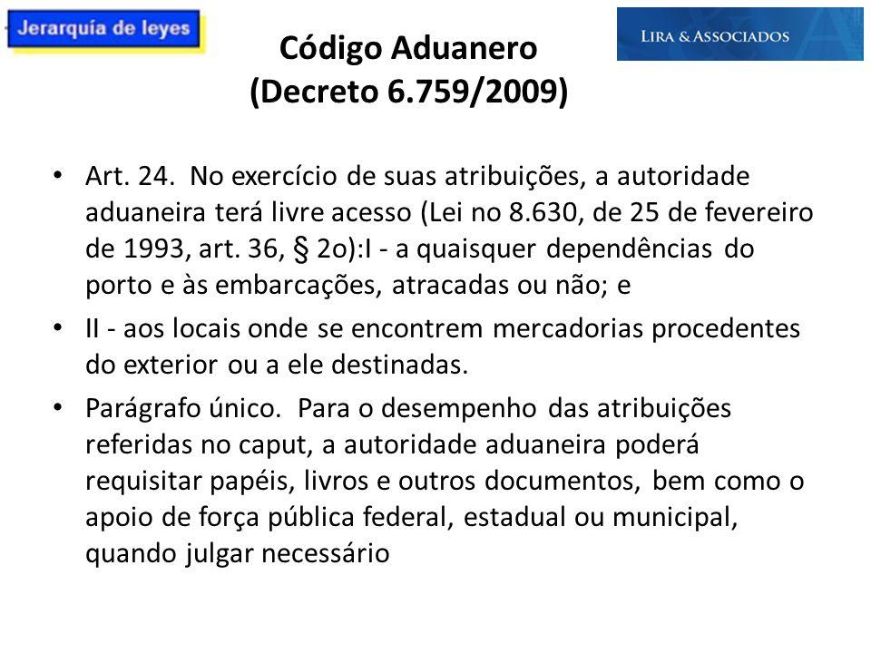 Código Aduanero (Decreto 6.759/2009) Art. 24. No exercício de suas atribuições, a autoridade aduaneira terá livre acesso (Lei no 8.630, de 25 de fever