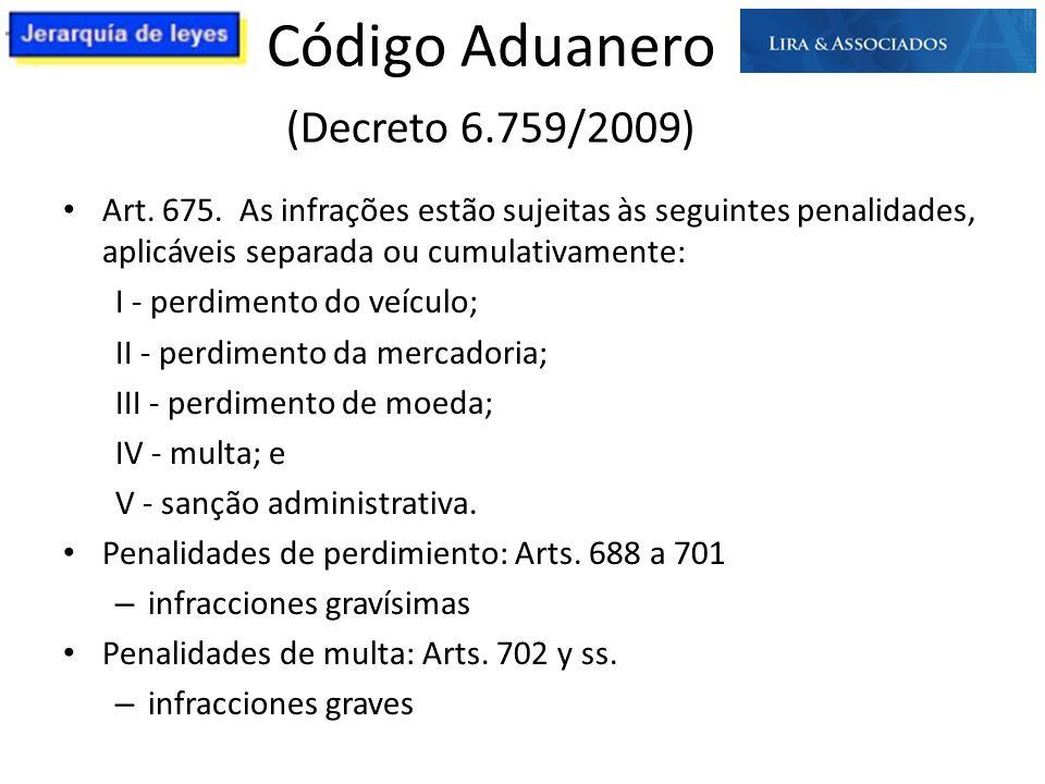 Código Aduanero (Decreto 6.759/2009) Art. 675. As infrações estão sujeitas às seguintes penalidades, aplicáveis separada ou cumulativamente: I - perdi