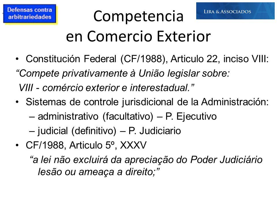 Competencia en Comercio Exterior Constitución Federal (CF/1988), Articulo 22, inciso VIII: Compete privativamente à União legislar sobre: VIII - comér