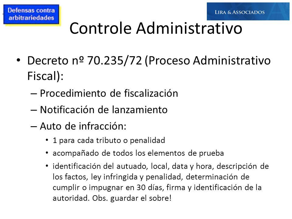 Controle Administrativo Decreto nº 70.235/72 (Proceso Administrativo Fiscal): – Procedimiento de fiscalización – Notificación de lanzamiento – Auto de