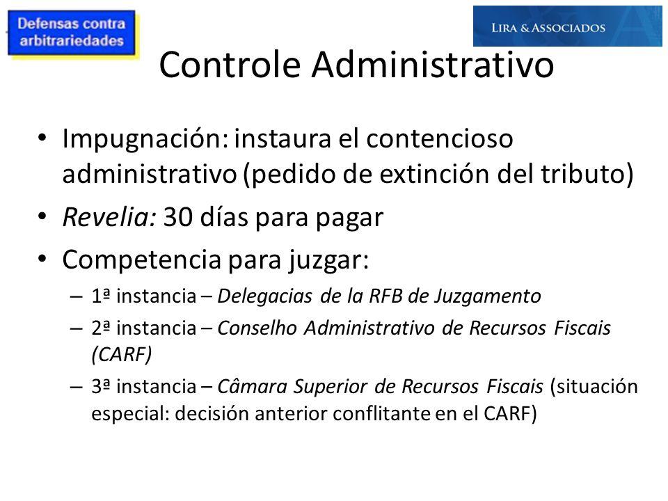 Controle Administrativo Impugnación: instaura el contencioso administrativo (pedido de extinción del tributo) Revelia: 30 días para pagar Competencia
