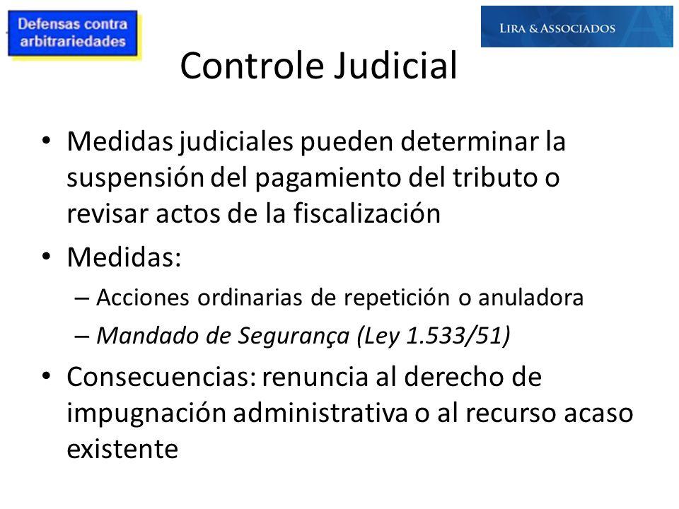 Controle Judicial Medidas judiciales pueden determinar la suspensión del pagamiento del tributo o revisar actos de la fiscalización Medidas: – Accione