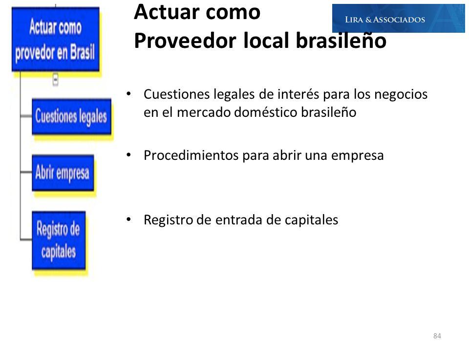 Actuar como Proveedor local brasileño Cuestiones legales de interés para los negocios en el mercado doméstico brasileño Procedimientos para abrir una