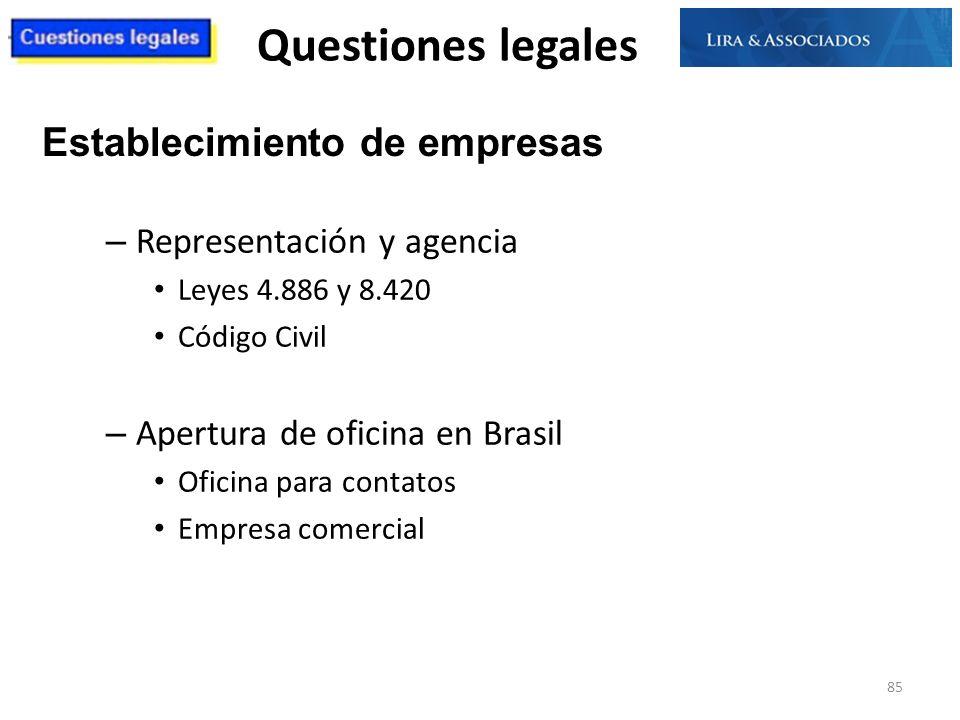 Questiones legales – Representación y agencia Leyes 4.886 y 8.420 Código Civil – Apertura de oficina en Brasil Oficina para contatos Empresa comercial