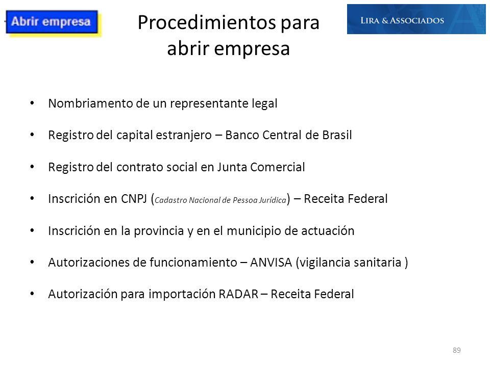 Procedimientos para abrir empresa Nombriamento de un representante legal Registro del capital estranjero – Banco Central de Brasil Registro del contra