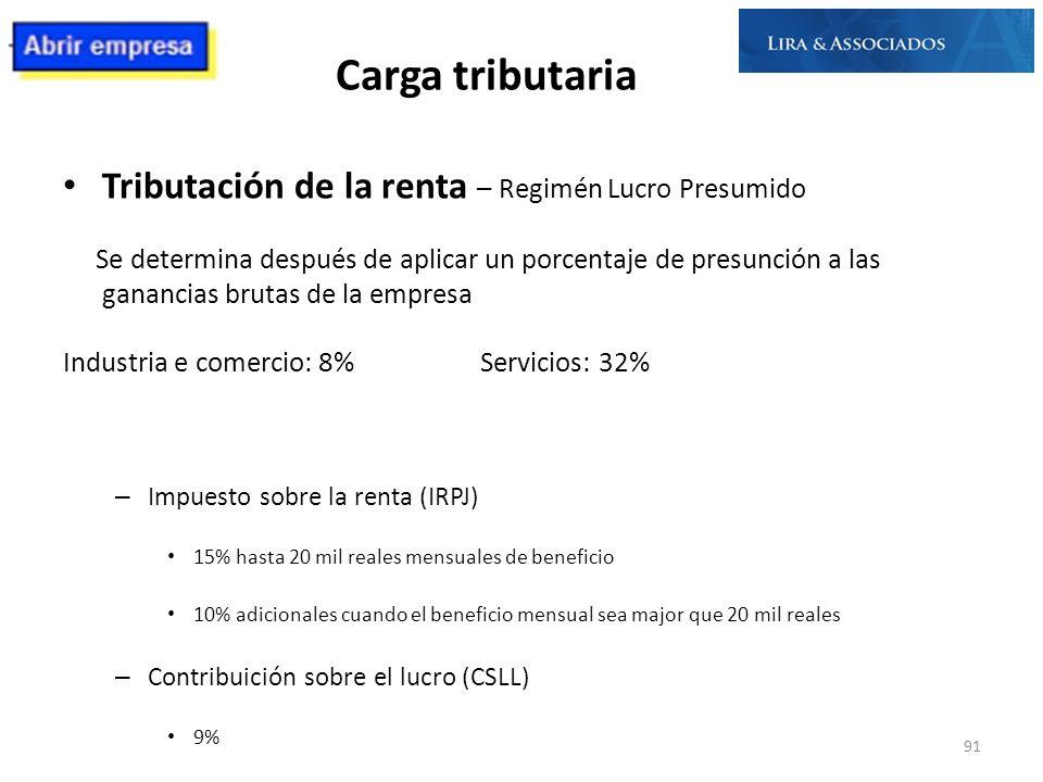 Carga tributaria Tributación de la renta – Regimén Lucro Presumido Se determina después de aplicar un porcentaje de presunción a las ganancias brutas