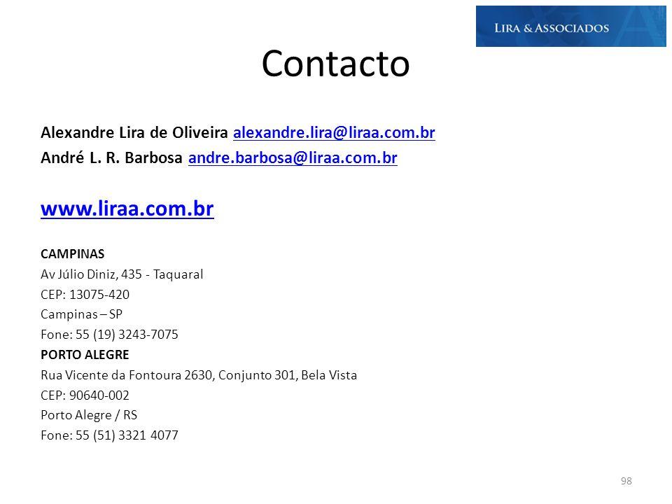 Contacto Alexandre Lira de Oliveira alexandre.lira@liraa.com.bralexandre.lira@liraa.com.br André L. R. Barbosa andre.barbosa@liraa.com.brandre.barbosa