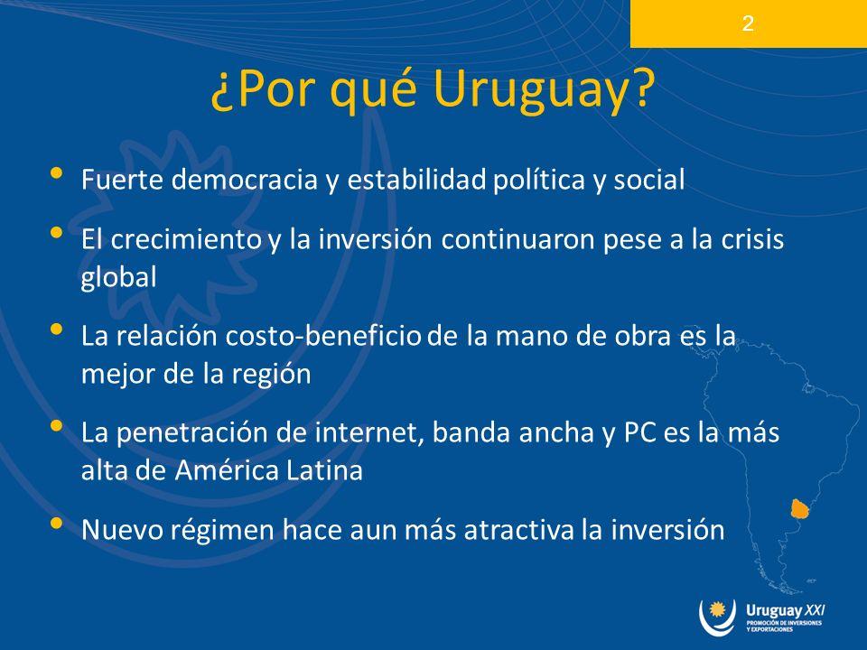 Fuerte democracia y estabilidad política y social El crecimiento y la inversión continuaron pese a la crisis global La relación costo-beneficio de la