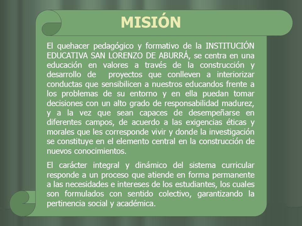 MISIÓN El quehacer pedagógico y formativo de la INSTITUCIÓN EDUCATIVA SAN LORENZO DE ABURRÁ, se centra en una educación en valores a través de la cons