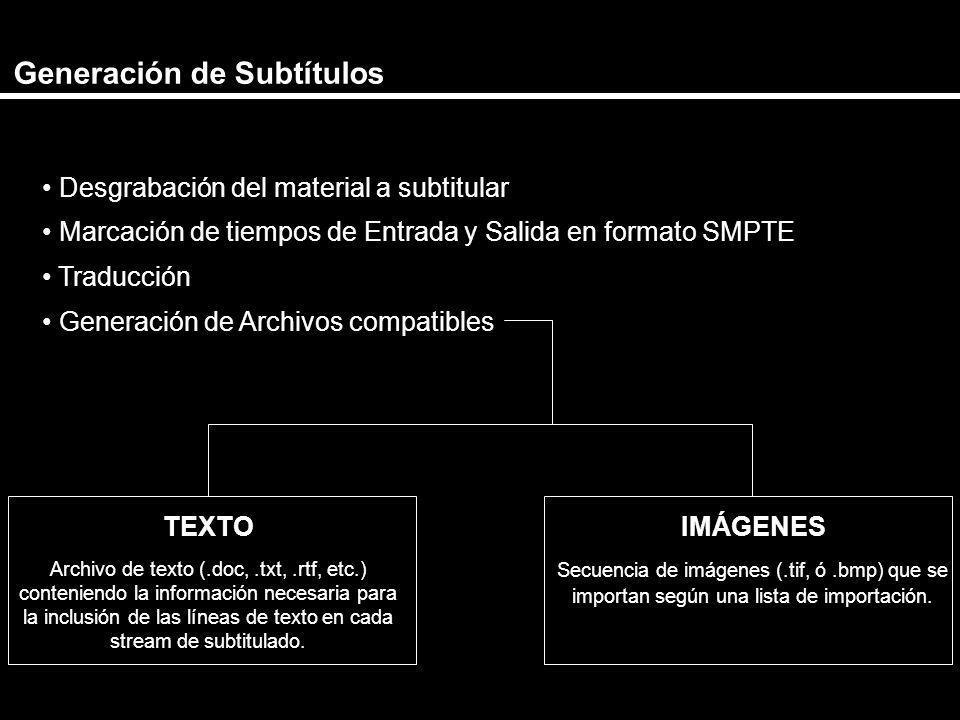 Generación de Subtítulos Desgrabación del material a subtitular Marcación de tiempos de Entrada y Salida en formato SMPTE Traducción Generación de Arc