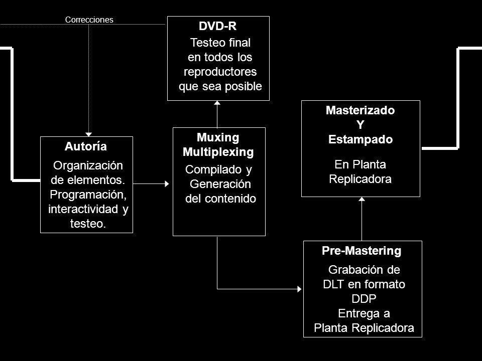 Autoría Organización de elementos. Programación, interactividad y testeo. Muxing Multiplexing Compilado y Generación del contenido DVD-R Testeo final