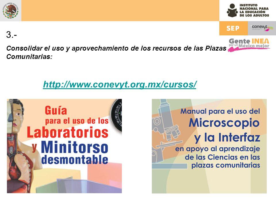 3.- Consolidar el uso y aprovechamiento de los recursos de las Plazas Comunitarias: http://www.conevyt.org.mx/cursos/