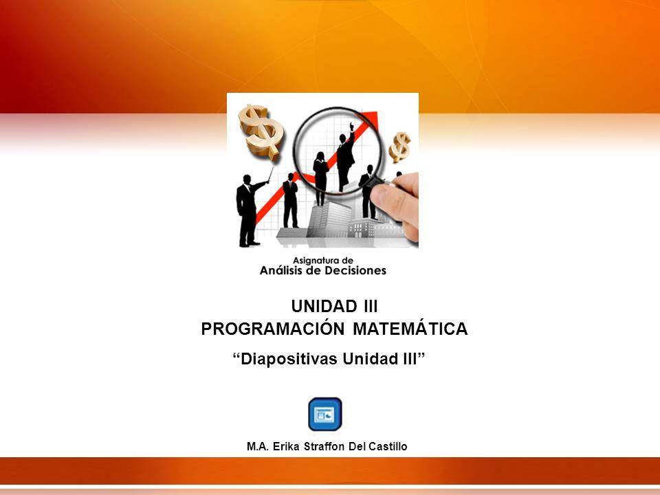 UNIDAD III PROGRAMACIÓN MATEMÁTICA Diapositivas Unidad III M.A. Erika Straffon Del Castillo