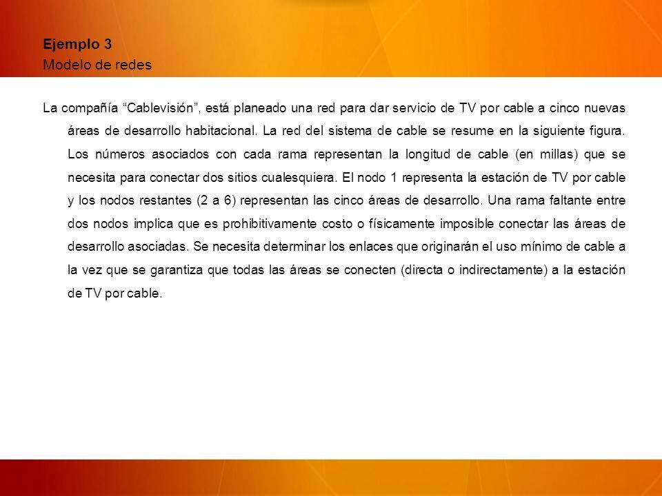 Ejemplo 3 Modelo de redes La compañía Cablevisión, está planeado una red para dar servicio de TV por cable a cinco nuevas áreas de desarrollo habitacional.