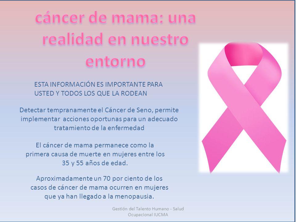 El cáncer de mama permanece como la primera causa de muerte en mujeres entre los 35 y 55 años de edad. Aproximadamente un 70 por ciento de los casos d