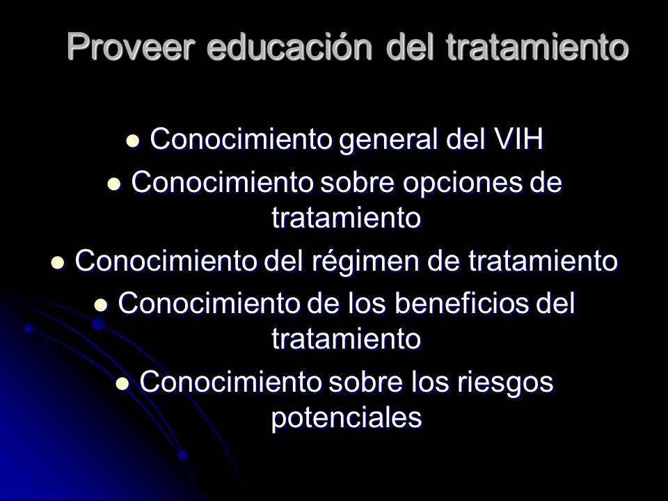 Proveer educación del tratamiento Conocimiento general del VIH Conocimiento general del VIH Conocimiento sobre opciones de tratamiento Conocimiento so