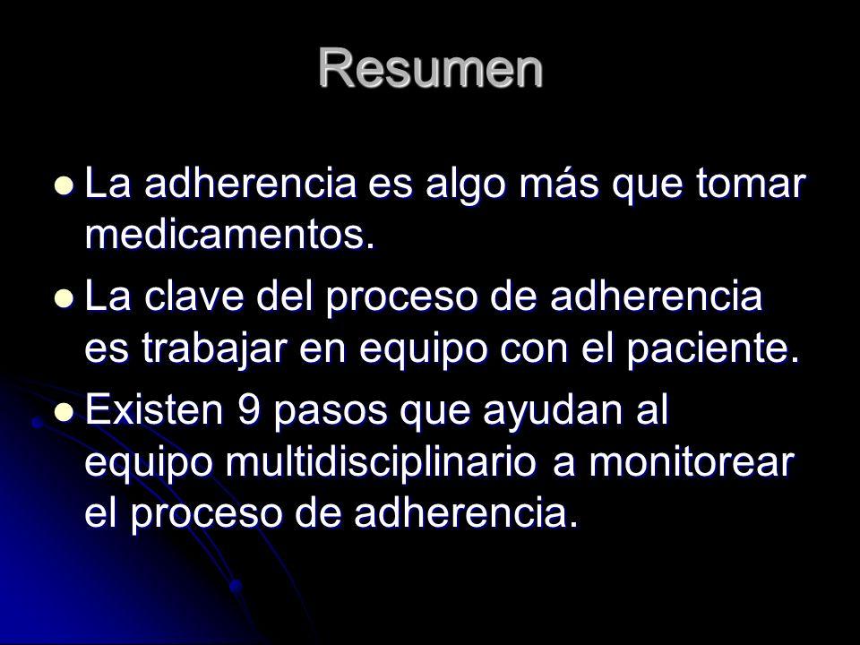 Resumen La adherencia es algo más que tomar medicamentos. La adherencia es algo más que tomar medicamentos. La clave del proceso de adherencia es trab