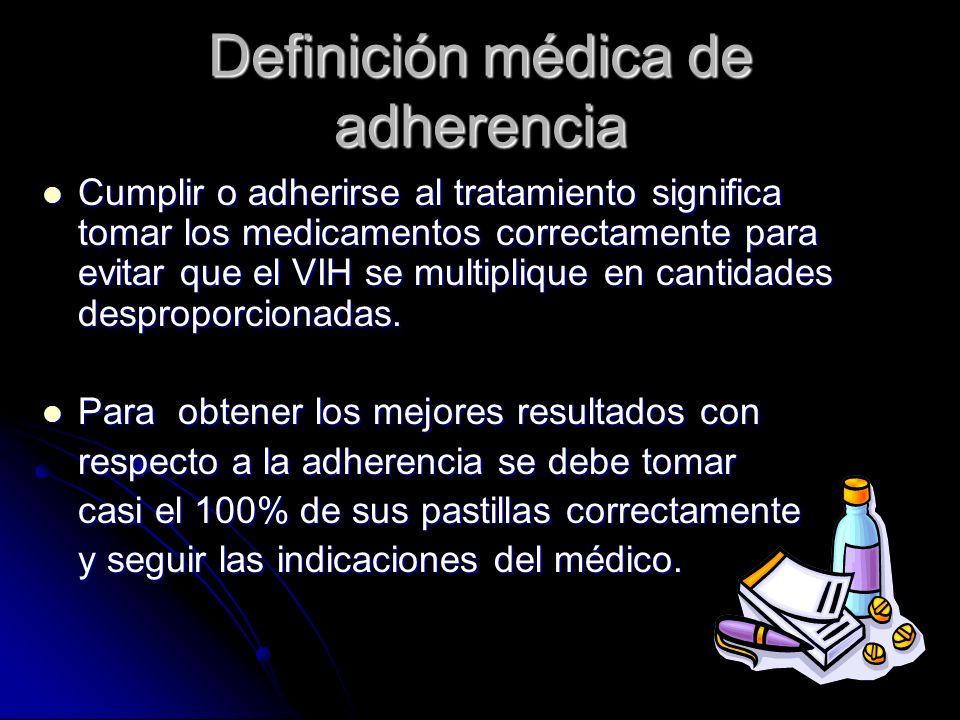 Definición médica de adherencia Cumplir o adherirse al tratamiento significa tomar los medicamentos correctamente para evitar que el VIH se multipliqu