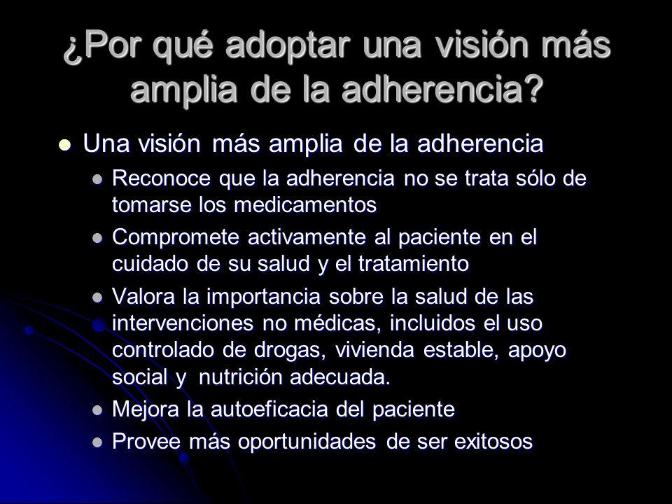 ¿Por qué adoptar una visión más amplia de la adherencia? Una visión más amplia de la adherencia Una visión más amplia de la adherencia Reconoce que la
