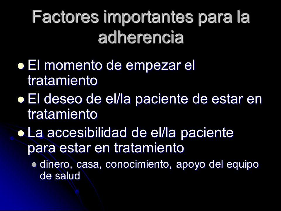 Factores importantes para la adherencia El momento de empezar el tratamiento El momento de empezar el tratamiento El deseo de el/la paciente de estar