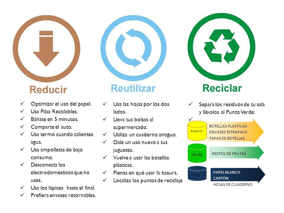 Optimizar el uso del papel. Usa Pilas Reciclables. Báñate en 5 minutos. Comparte el auto. Usa termo cuando calientes agua. Usa ampolletas de bajo cons