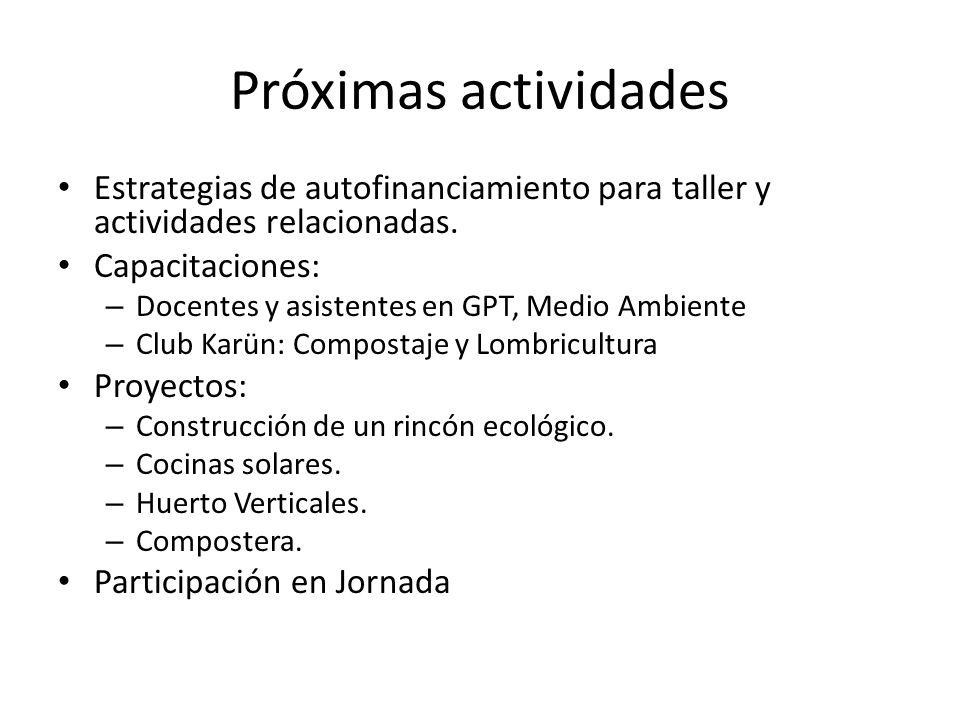 Próximas actividades Estrategias de autofinanciamiento para taller y actividades relacionadas. Capacitaciones: – Docentes y asistentes en GPT, Medio A