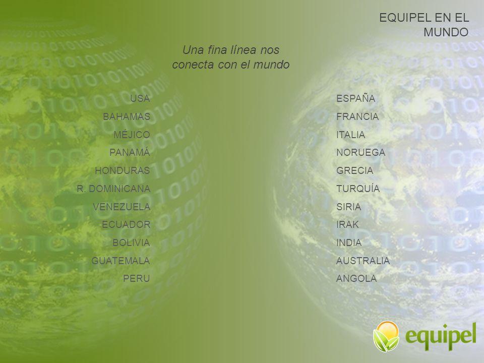 Una fina línea nos conecta con el mundo EQUIPEL EN EL MUNDO USA BAHAMAS MÉJICO PANAMÁ HONDURAS R. DOMINICANA VENEZUELA ECUADOR BOLIVIA GUATEMALA PERU