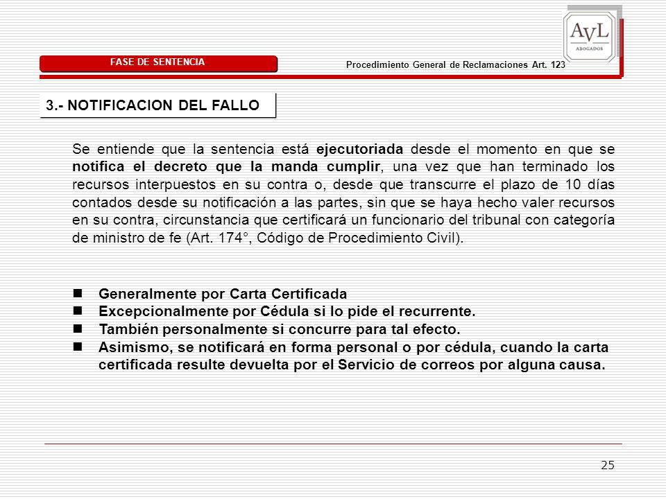 25 Procedimiento General de Reclamaciones Art.