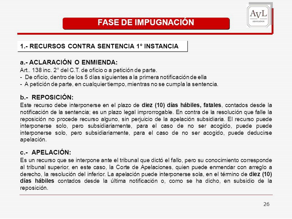 26 1.- RECURSOS CONTRA SENTENCIA 1° INSTANCIA b.- REPOSICIÓN: Este recurso debe interponerse en el plazo de diez (10) días hábiles, fatales, contados