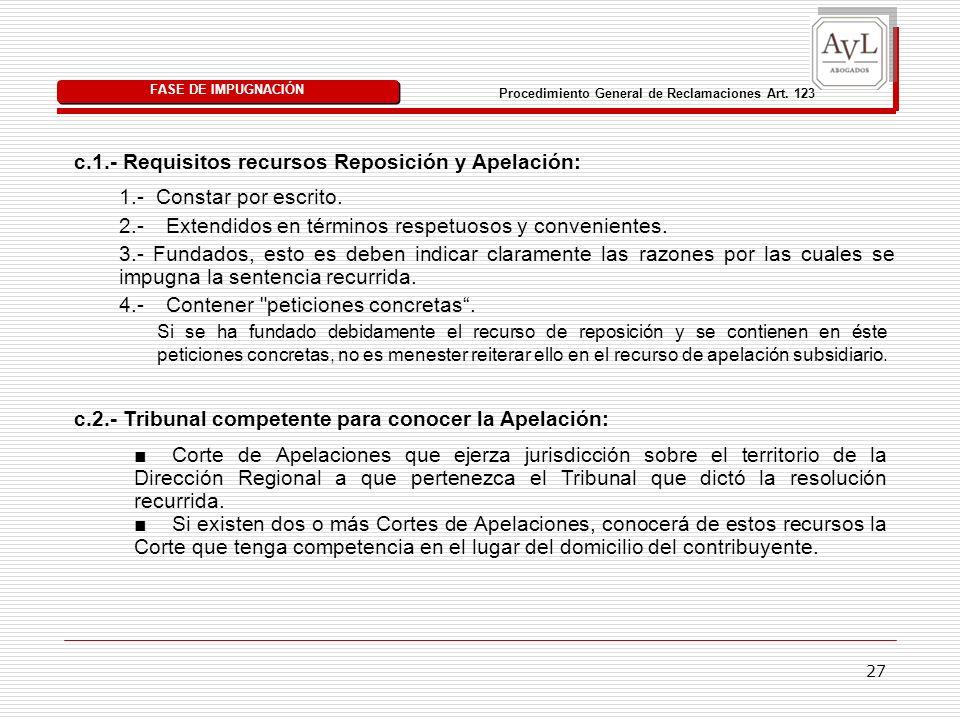 27 c.1.- Requisitos recursos Reposición y Apelación: FASE DE IMPUGNACIÓN Procedimiento General de Reclamaciones Art. 123 Si se ha fundado debidamente