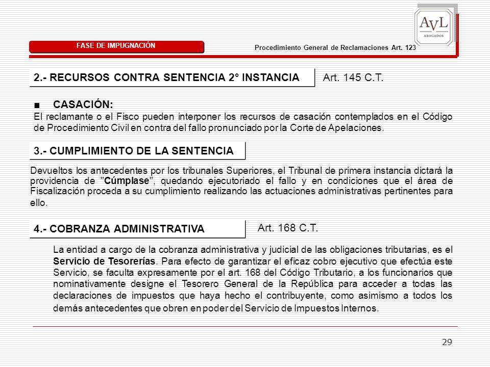 29 2.- RECURSOS CONTRA SENTENCIA 2° INSTANCIA FASE DE IMPUGNACIÓN Procedimiento General de Reclamaciones Art. 123 Art. 145 C.T. CASACIÓN: El reclamant