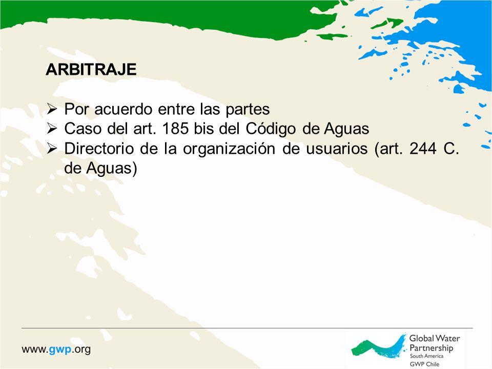 ARBITRAJE Por acuerdo entre las partes Caso del art. 185 bis del Código de Aguas Directorio de la organización de usuarios (art. 244 C. de Aguas)