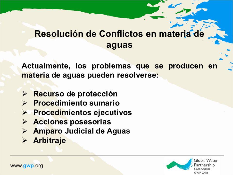 Resolución de Conflictos en materia de aguas Actualmente, los problemas que se producen en materia de aguas pueden resolverse: Recurso de protección Procedimiento sumario Procedimientos ejecutivos Acciones posesorias Amparo Judicial de Aguas Arbitraje