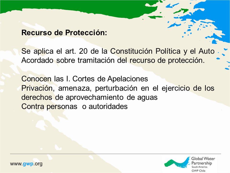 Recurso de Protección: Se aplica el art. 20 de la Constitución Política y el Auto Acordado sobre tramitación del recurso de protección. Conocen las I.