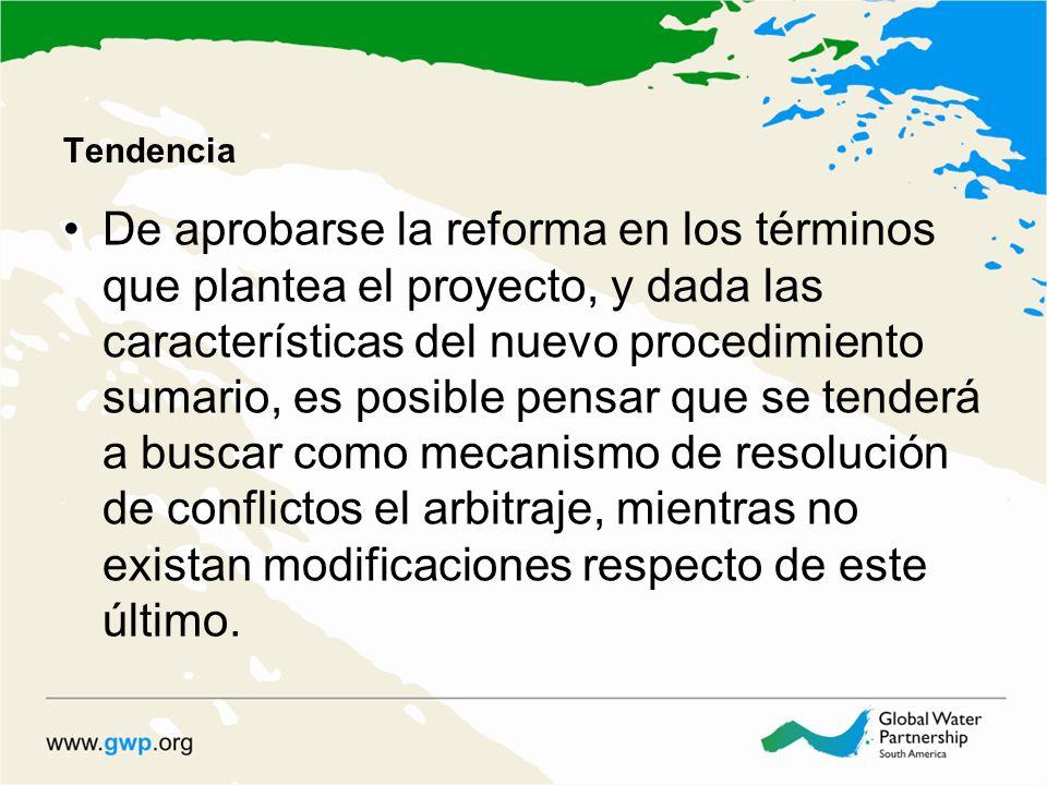 Tendencia De aprobarse la reforma en los términos que plantea el proyecto, y dada las características del nuevo procedimiento sumario, es posible pens
