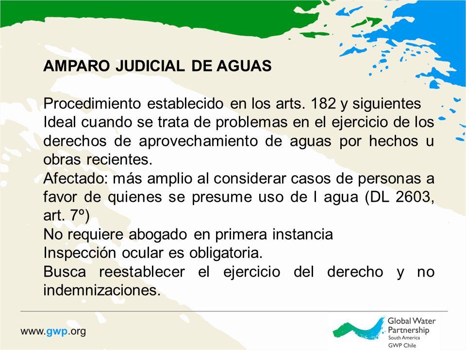 AMPARO JUDICIAL DE AGUAS Procedimiento establecido en los arts. 182 y siguientes Ideal cuando se trata de problemas en el ejercicio de los derechos de