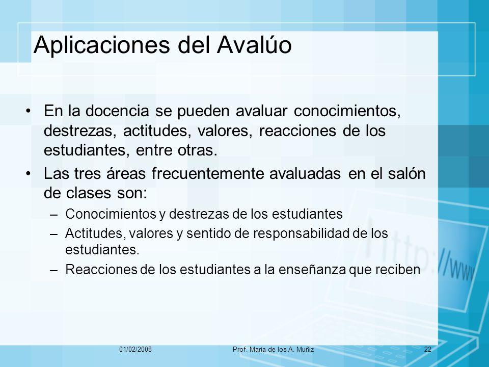 Aplicaciones del Avalúo En la docencia se pueden avaluar conocimientos, destrezas, actitudes, valores, reacciones de los estudiantes, entre otras.
