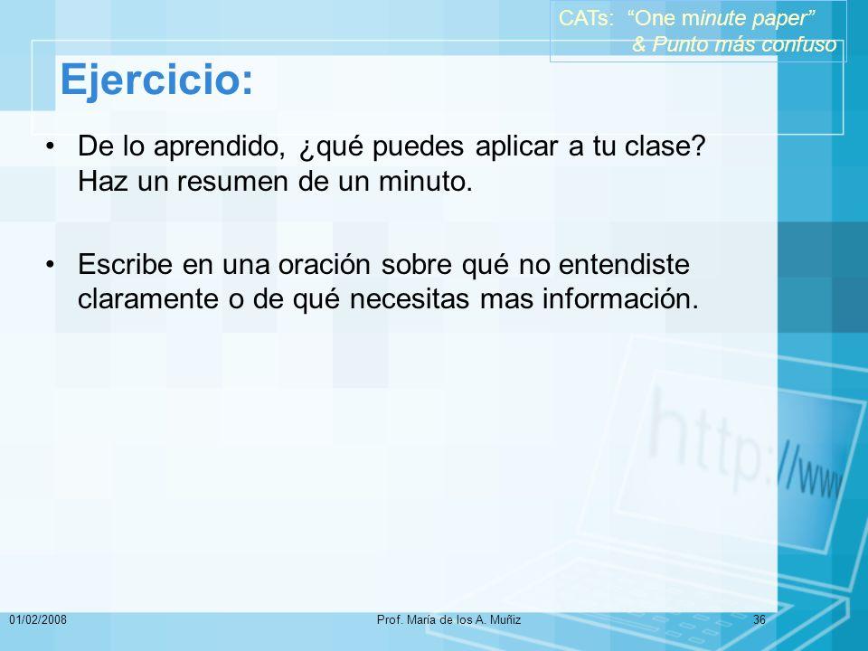01/02/2008Prof.María de los A. Muñiz36 Ejercicio: De lo aprendido, ¿qué puedes aplicar a tu clase.