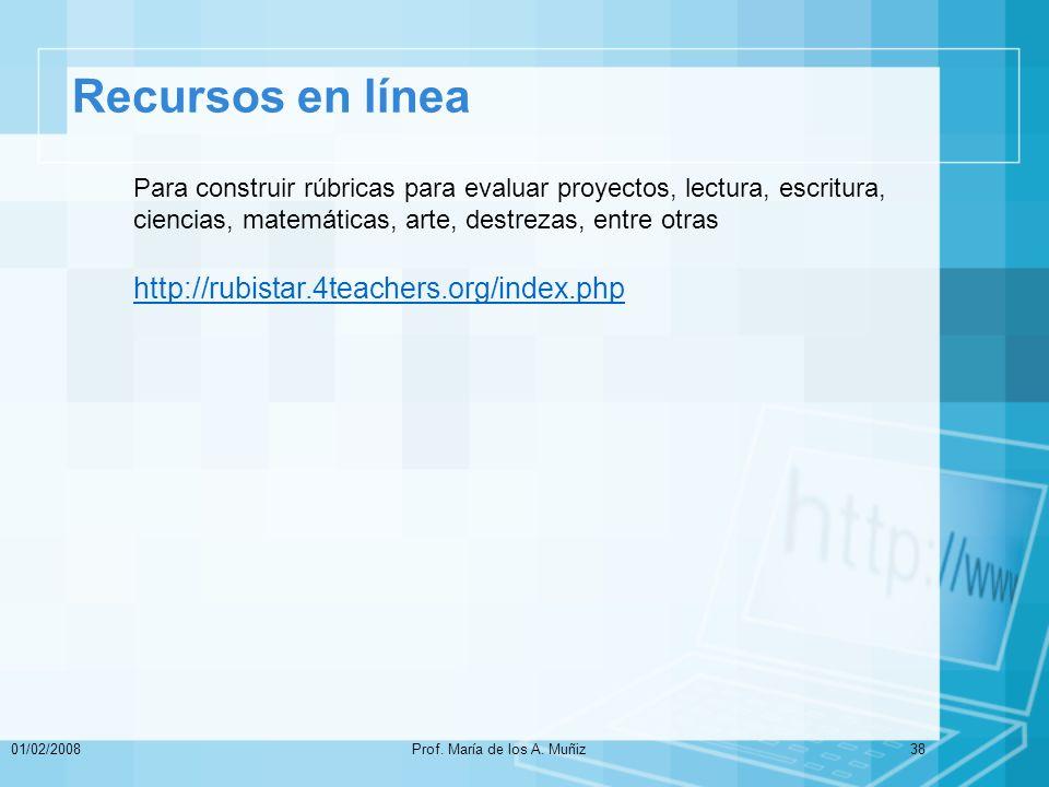Recursos en línea 01/02/2008Prof.María de los A.