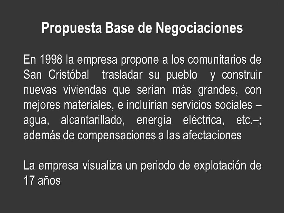www.minerasancristobal.com Propuesta Base de Negociaciones En 1998 la empresa propone a los comunitarios de San Cristóbal trasladar su pueblo y constr