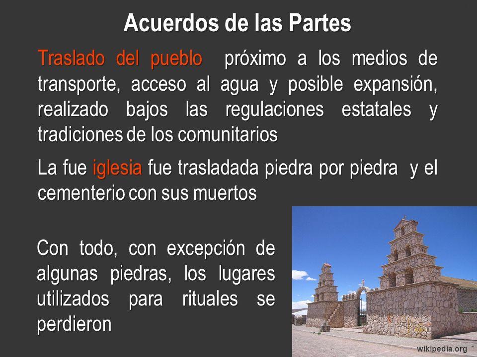 www.minerasancristobal.com Acuerdos de las Partes Traslado del pueblo próximo a los medios de transporte, acceso al agua y posible expansión, realizad