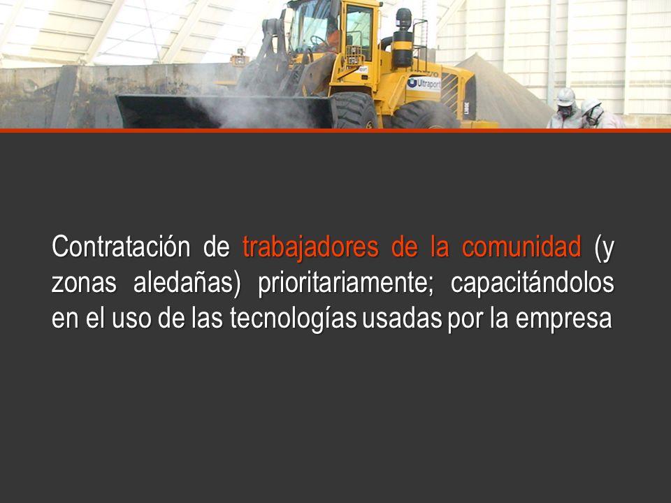 www.minerasancristobal.com Contratación de trabajadores de la comunidad (y zonas aledañas) prioritariamente; capacitándolos en el uso de las tecnologí