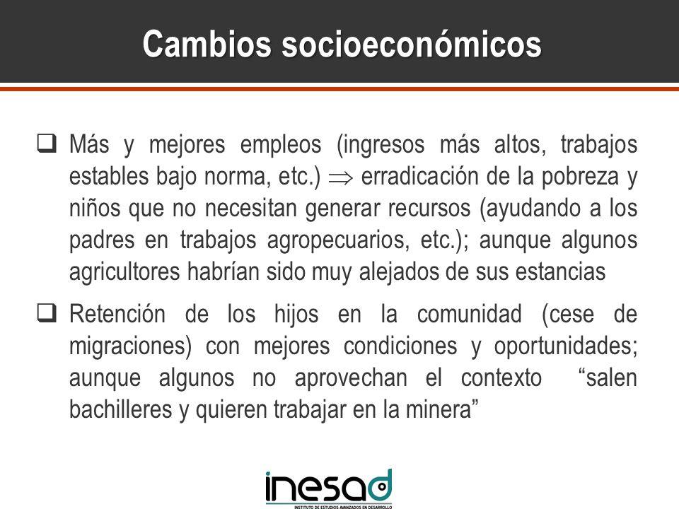 Cambios socioeconómicos Más y mejores empleos (ingresos más altos, trabajos estables bajo norma, etc.) erradicación de la pobreza y niños que no neces