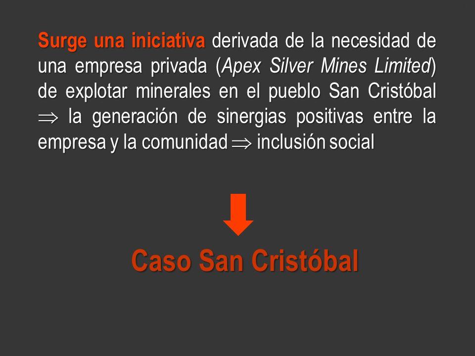 www.minerasancristobal.com Surge una iniciativa derivada de la necesidad de una empresa privada ( Apex Silver Mines Limited ) de explotar minerales en