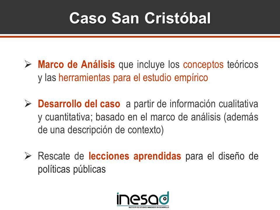 Caso San Cristóbal Marco de Análisis que incluye los conceptos teóricos y las herramientas para el estudio empírico Desarrollo del caso a partir de in