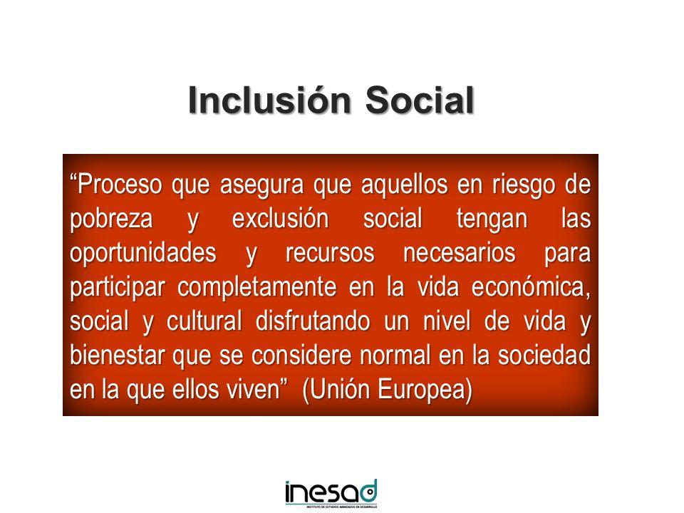 Inclusión Social Proceso que asegura que aquellos en riesgo de pobreza y exclusión social tengan las oportunidades y recursos necesarios para particip