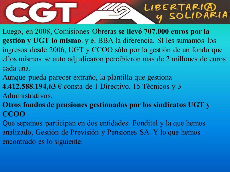 Luego, en 2008, Comisiones Obreras se llevó 707.000 euros por la gestión y UGT lo mismo. y el BBA la diferencia. SI les sumamos los ingresos desde 200