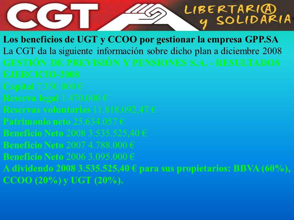 Los beneficios de UGT y CCOO por gestionar la empresa GPP.SA La CGT da la siguiente información sobre dicho plan a diciembre 2008 GESTIÓN DE PREVISIÓN Y PENSIONES S.A.